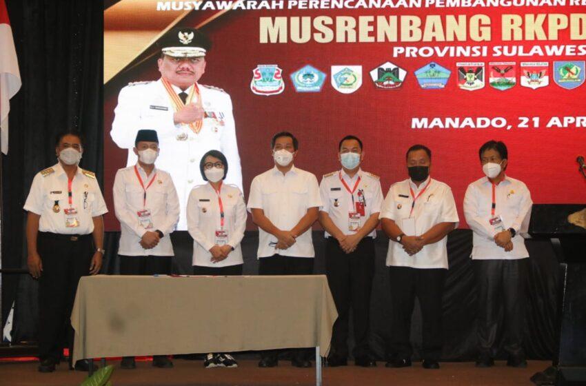 Di Musrenbang RKPD Pemda Sulut 2022, Walikota Tegaskan Siap Bersinergi dalam Membangun Daerah