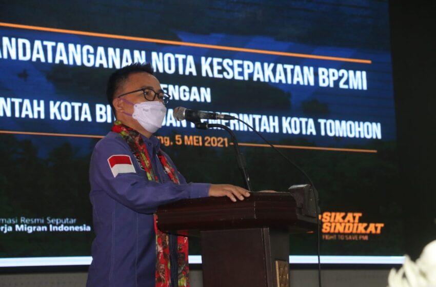 Senator SBANL Jembatani Terwujudnya Nota Kesepakatan BP2MI, Pemkot Tomohon dan Bitung, Soal Kesejahteraan PMI